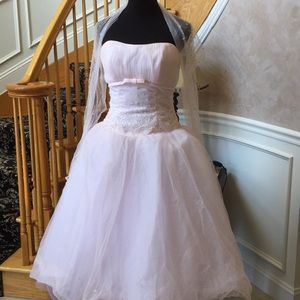 Light pink tulle dress with shawl